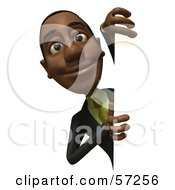 3d Black Businessman Character Looking Around A Blank Sign Version 1 by Julos