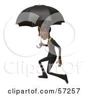 3d Black Businessman Character Walking Under An Umbrella