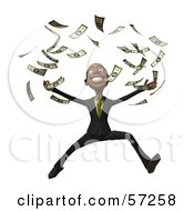 3d Black Businessman Character Throwing Cash Into The Air - Version 2