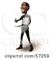 3d Black Businessman Character Holding A Laptop - Version 2