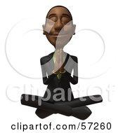 3d Black Businessman Character Meditating - Version 3