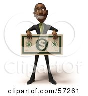 3d Black Businessman Character Holding An Over Sized Dollar - Version 4