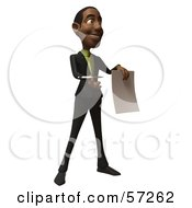 3d Black Businessman Character Holding Out A Contract And Pen - Version 2