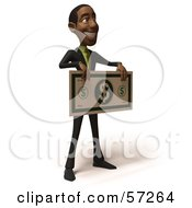 3d Black Businessman Character Holding An Over Sized Dollar - Version 3