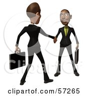 Royalty Free RF Clipart Illustration Of 3d White And Black Businessmen Characters Shaking Hands Version 2