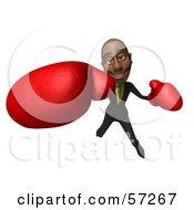 3d Black Businessman Character Boxing - Version 6