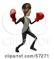 3d Black Businessman Character Boxing - Version 4