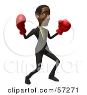 3d Black Businessman Character Boxing Version 4 by Julos