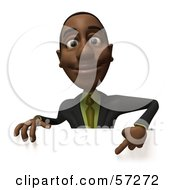 3d Black Businessman Character Pointing Down And Standing Behind A Blank Sign - Version 2