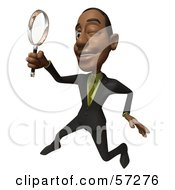 3d Black Businessman Character Holding A Magnifying Glass - Version 3