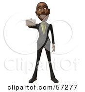 3d Black Businessman Character Holding Out A Blank Business Card Version 3 by Julos