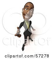 3d Black Businessman Character Pointing His Fingers Like A Gun Version 3 by Julos