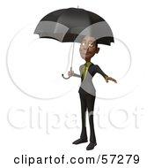 3d Black Businessman Character Standing Under An Umbrella by Julos
