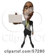 3d Black Businessman Character Holding Out A Blank Business Card Version 2 by Julos