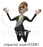 Royalty Free RF Clipart Illustration Of A 3d Black Businessman Character Jumping And Smiling Version 1 by Julos