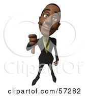 Royalty Free RF Clipart Illustration Of A 3d Black Businessman Character Giving The Thumbs Down by Julos