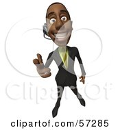 Royalty Free RF Clipart Illustration Of A 3d Black Businessman Character Pointing His Fingers Like A Gun And Wearing A Headset Version 1 by Julos