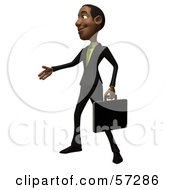 Royalty Free RF Clipart Illustration Of A 3d Black Businessman Character With A Briefcase Holding His Hand Out Version 2 by Julos
