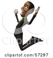 Royalty Free RF Clipart Illustration Of A 3d Black Businessman Character Jumping And Smiling Version 2 by Julos
