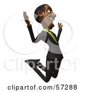 Royalty Free RF Clipart Illustration Of A 3d Black Businessman Character Jumping And Smiling Version 3 by Julos