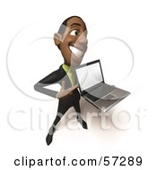 Royalty Free RF Clipart Illustration Of A 3d Black Businessman Character Holding A Laptop Version 4 by Julos