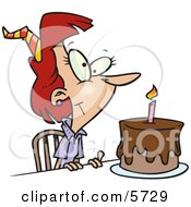 Birthday Woman With Candle On A Birthday Cake Clipart Illustration