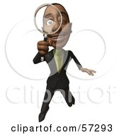 Royalty Free RF Clipart Illustration Of A 3d Black Businessman Character Holding A Magnifying Glass Version 2 by Julos