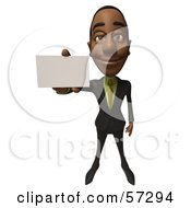 Royalty Free RF Clipart Illustration Of A 3d Black Businessman Character Holding Out A Blank Business Card Version 1 by Julos