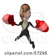3d Black Businessman Character Boxing - Version 5
