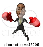 Royalty Free RF Clipart Illustration Of A 3d Black Businessman Character Boxing Version 5