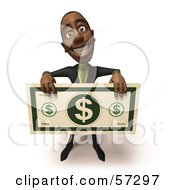 3d Black Businessman Character Holding An Over Sized Dollar - Version 1
