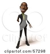 3d Black Businessman Character Pointing His Fingers Like A Gun - Version 5