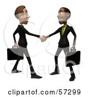 Royalty Free RF Clipart Illustration Of 3d White And Black Businessmen Characters Shaking Hands Version 1