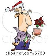 Disgruntled Employee In A Santa Hat Holding A Poinsettia Plant As A Christmas Bonus
