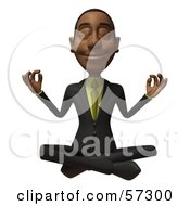 3d Black Businessman Character Meditating - Version 2