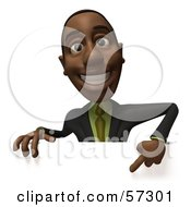 3d Black Businessman Character Pointing Down And Standing Behind A Blank Sign - Version 1