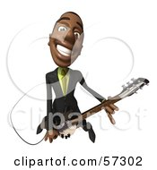 Royalty Free RF Clipart Illustration Of A 3d Black Businessman Character Playing An Electric Guitar Version 4 by Julos