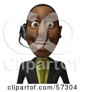 3d Black Businessman Character Smiling And Wearing A Headset - Version 1