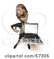 3d Black Businessman Character Holding A Laptop - Version 1