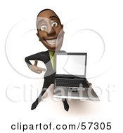 Royalty Free RF Clipart Illustration Of A 3d Black Businessman Character Holding A Laptop Version 1 by Julos