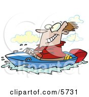 Happy Man Driving A Motor Boat On A Lake Clipart Illustration