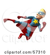 Royalty Free RF Clipart Illustration Of A 3d Male Star Superhero Character Kicking Version 3 by Julos