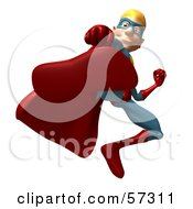 Royalty Free RF Clipart Illustration Of A 3d Male Star Superhero Character Kicking Version 1 by Julos