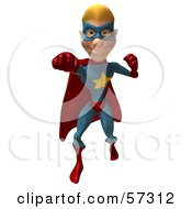 Royalty Free RF Clipart Illustration Of A 3d Male Star Superhero Character Punching Version 1 by Julos