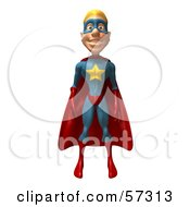 3d Male Star Superhero Character Standing And Facing Front