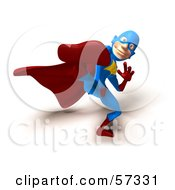Royalty Free RF Clipart Illustration Of A 3d Male Star Superhero Character Kicking Version 4 by Julos
