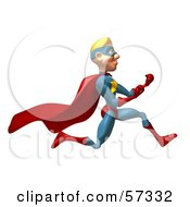 Royalty Free RF Clipart Illustration Of A 3d Male Star Superhero Character Running With Fists Clenched by Julos
