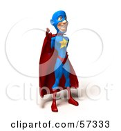 Royalty Free RF Clipart Illustration Of A 3d Male Star Superhero Character Waving Version 1 by Julos