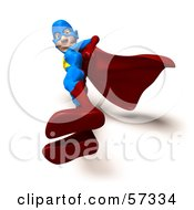 Royalty Free RF Clipart Illustration Of A 3d Male Star Superhero Character Standing And Looking Down