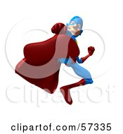 Royalty Free RF Clipart Illustration Of A 3d Male Star Superhero Character Kicking Version 2 by Julos
